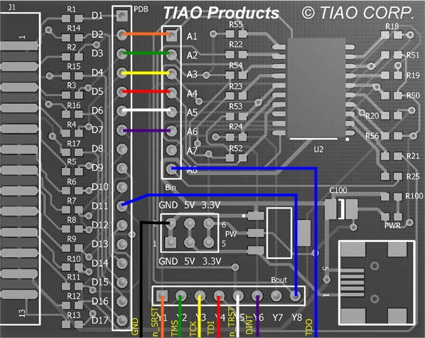 Configuration for buffered JTAG for wireless router